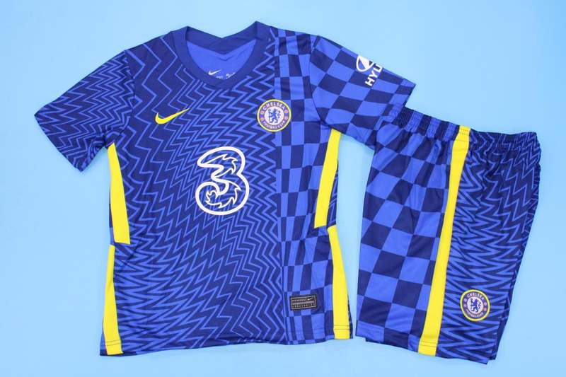 Kids Chelsea 21/22 Home Soccer Jersey And Shorts