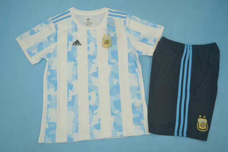 Kids Argentina 2020 Home Soccer Jersey And Shorts