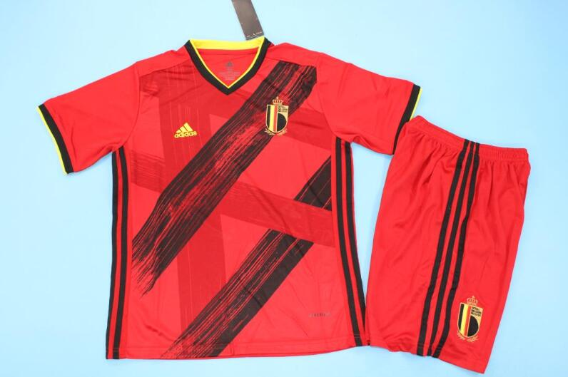 Kids Belgium 2020 EURO Home Soccer Jersey And Shorts