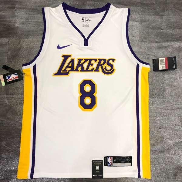 Los Angeles Lakers White #8 BRYANT Classics Basketball Jersey (Hot Press)