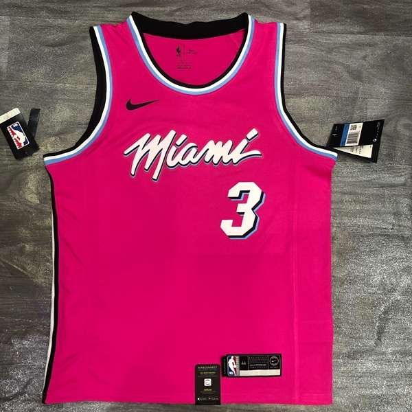 Miami Heat 2020 Pink #3 WADE City Basketball Jersey