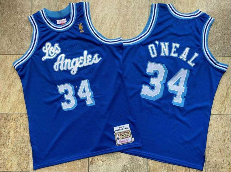 Los Angeles Lakers 1996/97 Blue #34 ONEAL Classics Basketball Jersey (Closely Stitched)