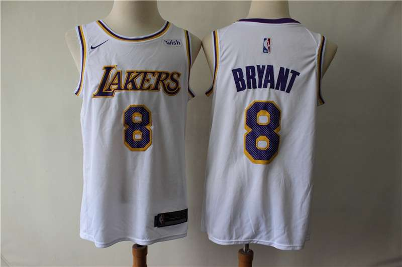 Los Angeles Lakers White #8 BRYANT Basketball Jersey (Stitched)