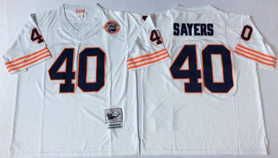Chicago Bears White #40 SAYERS Retro NFL Jersey 2