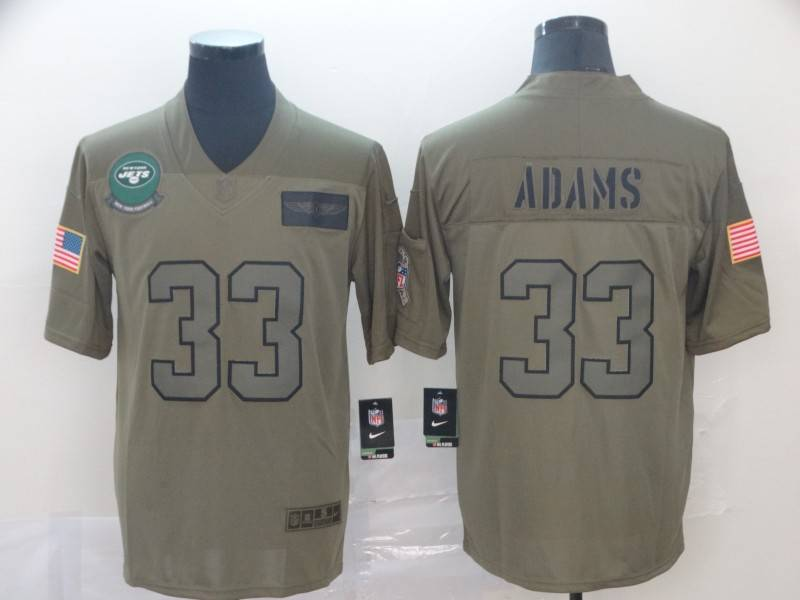 New York Jets #33 ADAMS Olive Salute To Service NFL Jersey