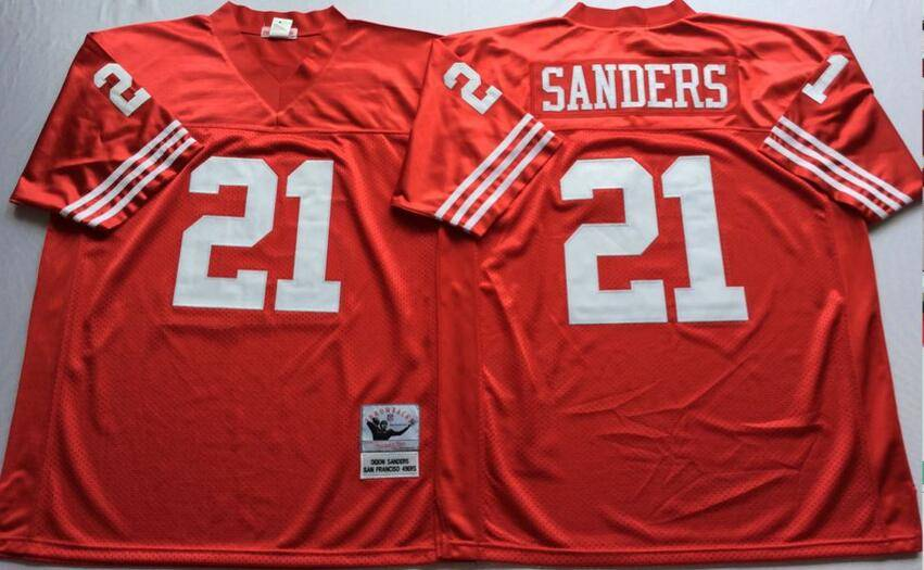 San Francisco 49ers Red #21 SANDERS Retro NFL Jersey 2