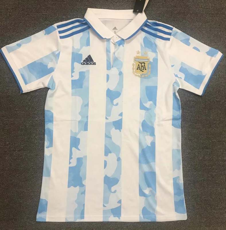 AAA Quality Argentina 2021 White Blue Polo Soccer T-Shirt