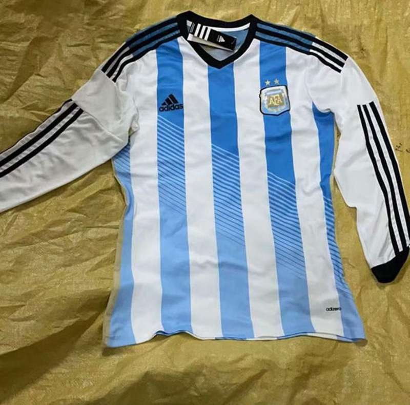 AAA Quality Argentina 2014 Home Retro Long Sleeve Soccer Jersey