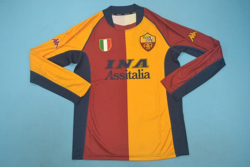 AAA Quality AS Roma 2001/02 Home Long Retro Soccer Jersey