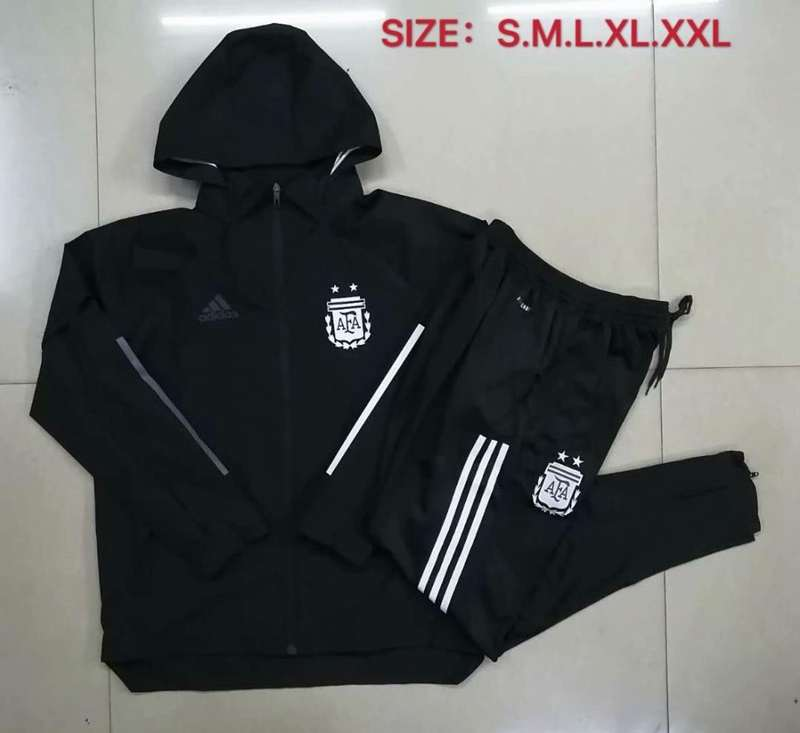 AAA Quality Argentina 2020 Black Soccer Tracksuit 03