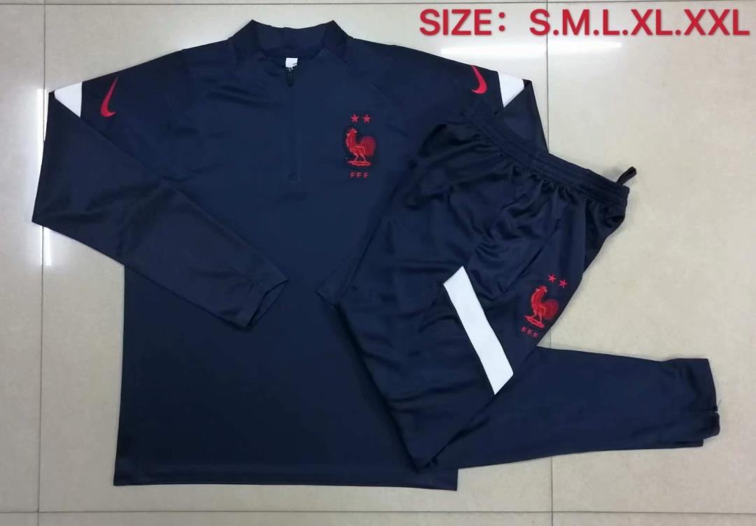 AAA Quality France 2020 Dark Blue Soccer Tracksuit 03