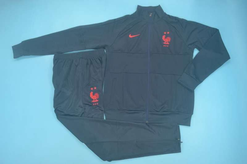 AAA Quality France 2020 Dark Blue Soccer Tracksuit 04