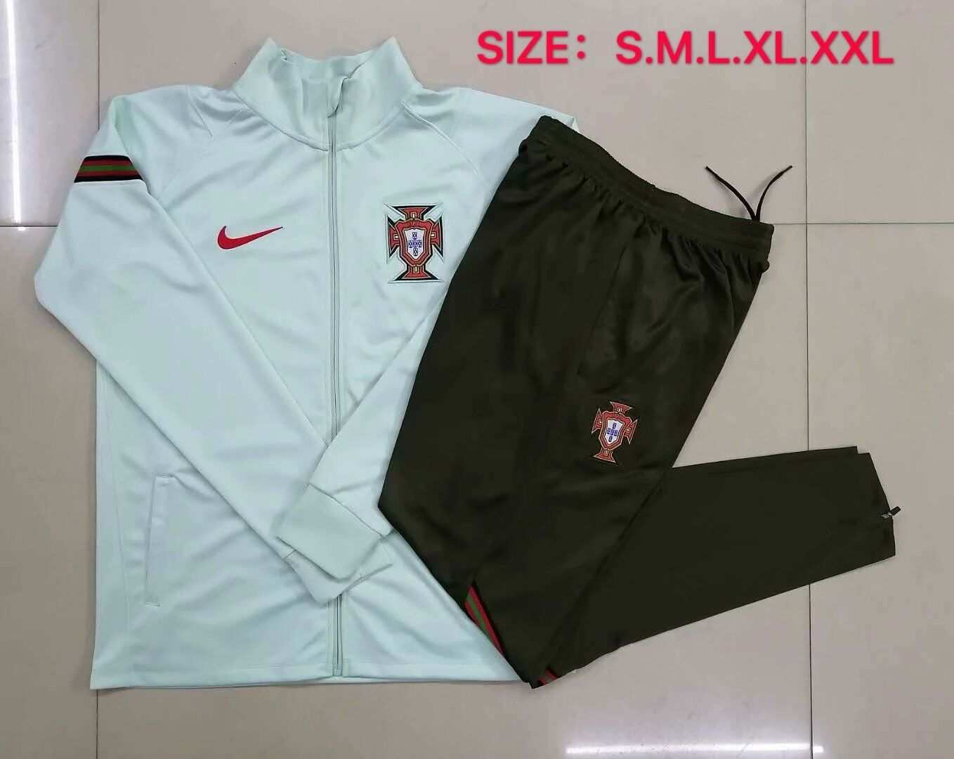 AAA Quality Portugal 2020 Green Soccer Tracksuit 04