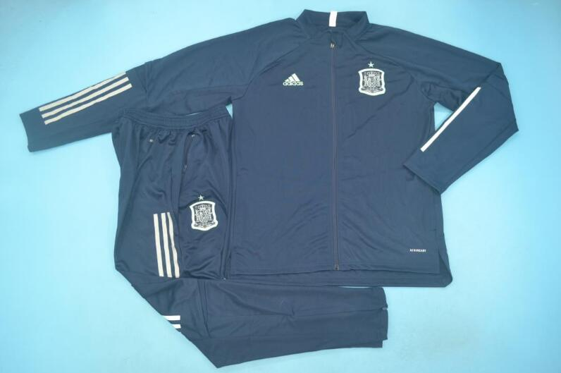 AAA Quality Spain 2020 Dark Blue Soccer Tracksuit