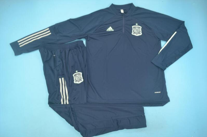 AAA Quality Spain 2020 Dark Blue Soccer Tracksuit 02
